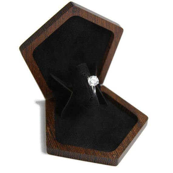 Elegant Minimalist Wooden Slim Engagement Ring Box