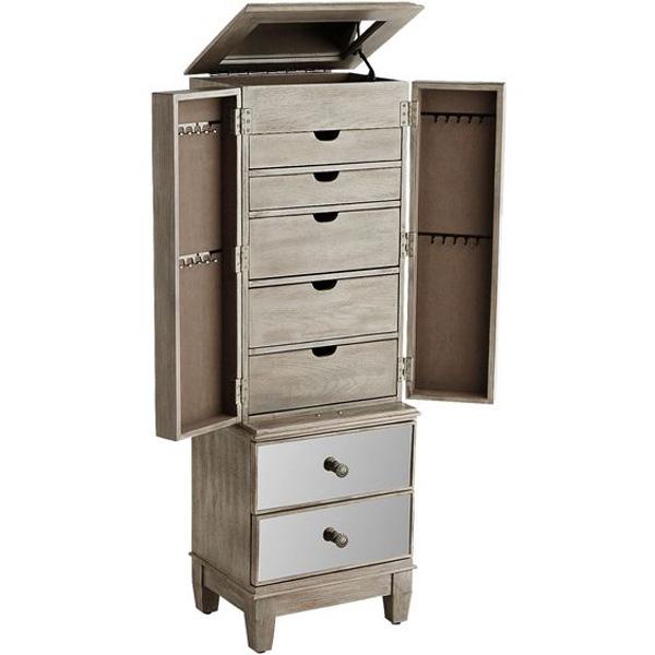 Elegant Premium Large Capacity Floor Standing Oak Jewelry Armoire