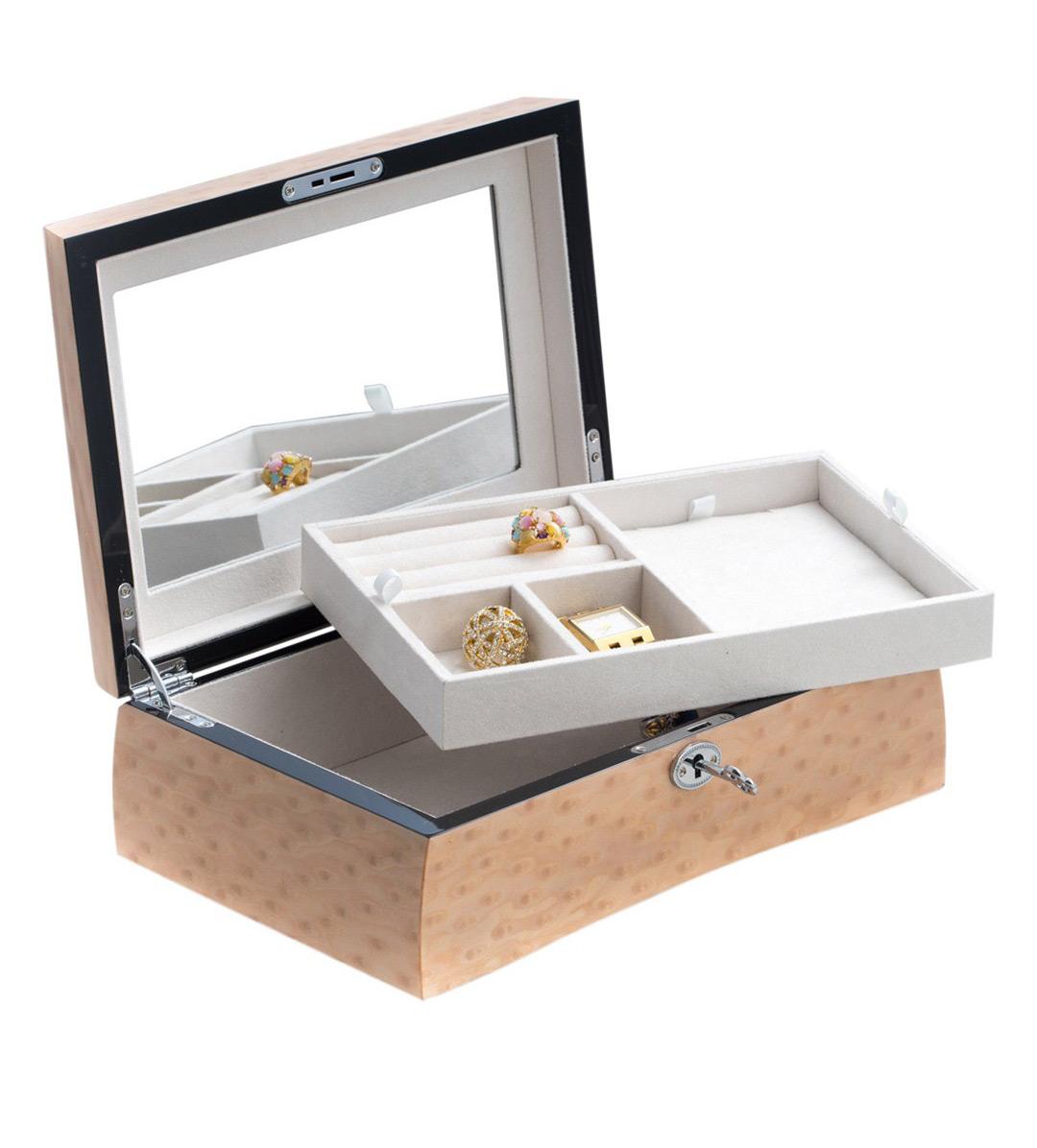 Elegant Wooden Locking Minimalist Mirrored Jewelry Box