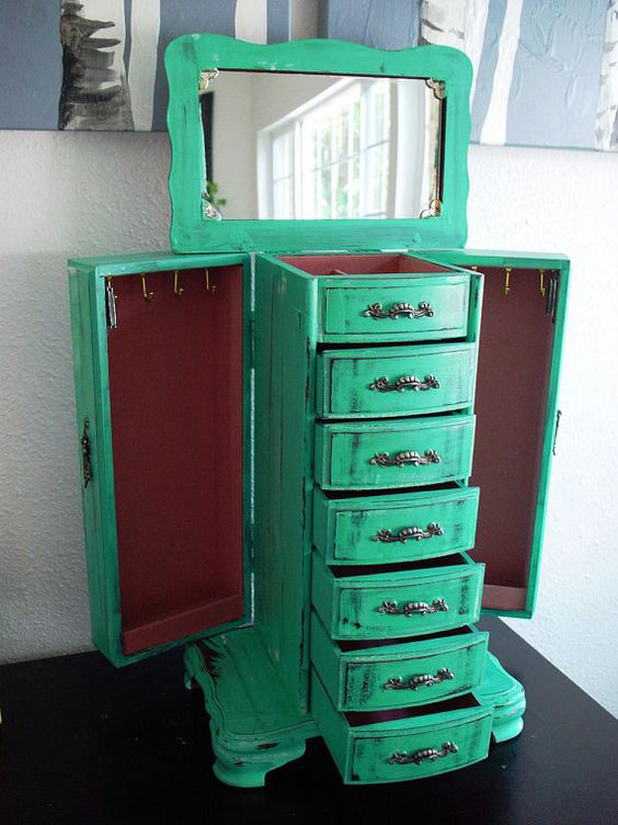 Vintage Rustic Green Mirrored Countertop Jewelry Armoire
