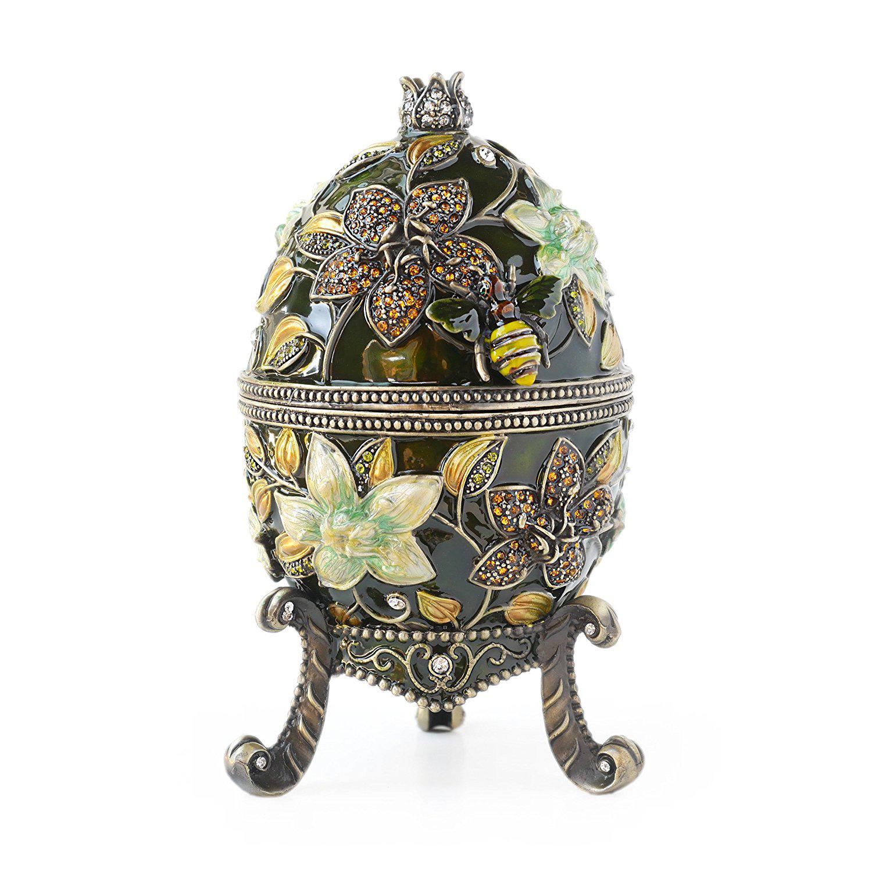 Beautiful Dark Precious Stones Adorned Floral Theme Faberge Jewelry Box