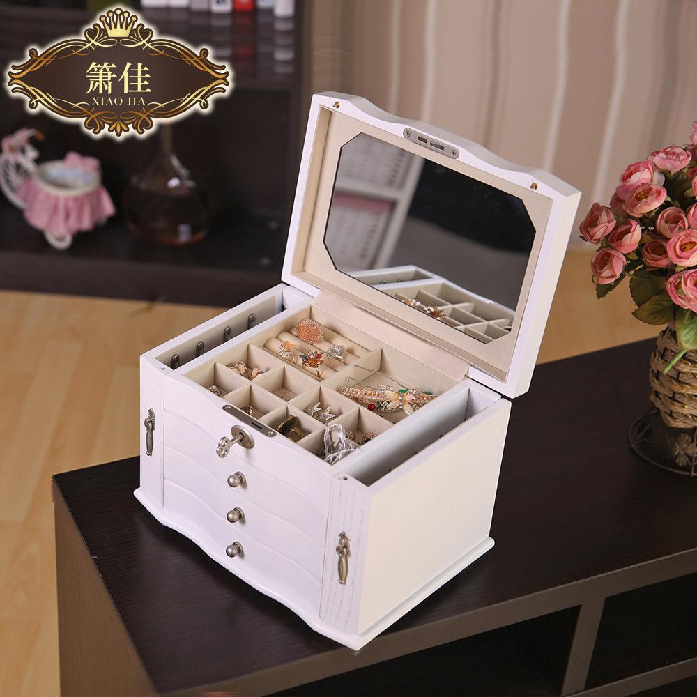 Beautiful Locking White Mirrored Countertop Jewelry Box