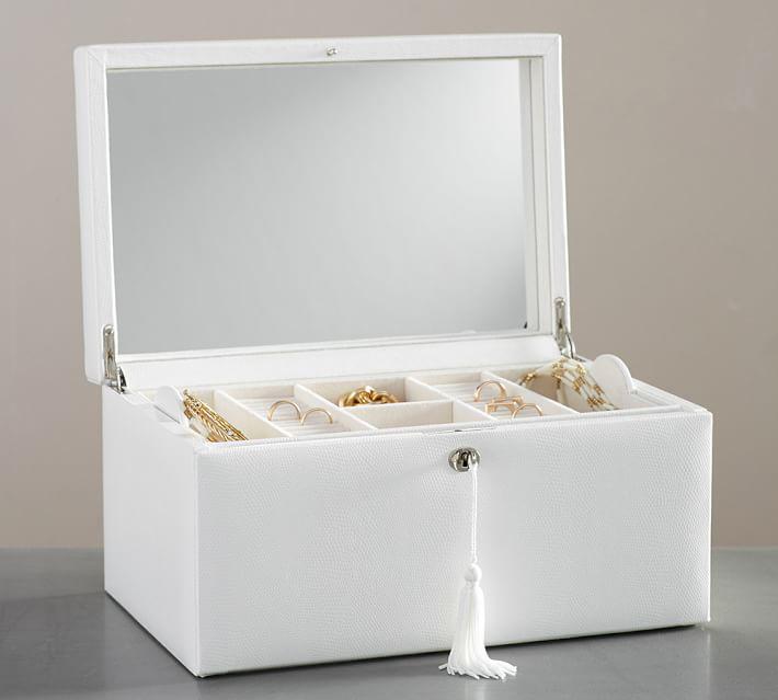Beautiful Mirrored White Large Capacity Locking Jewelry Box