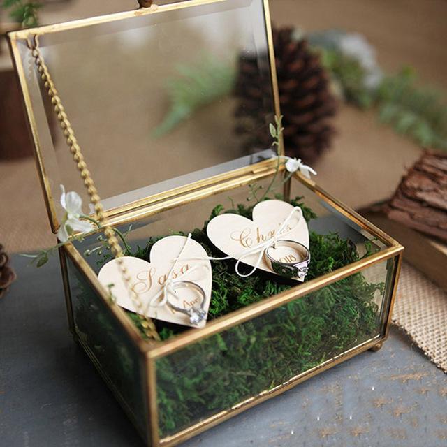 Creative Interior Moss Golden Glass Wedding Ring Box