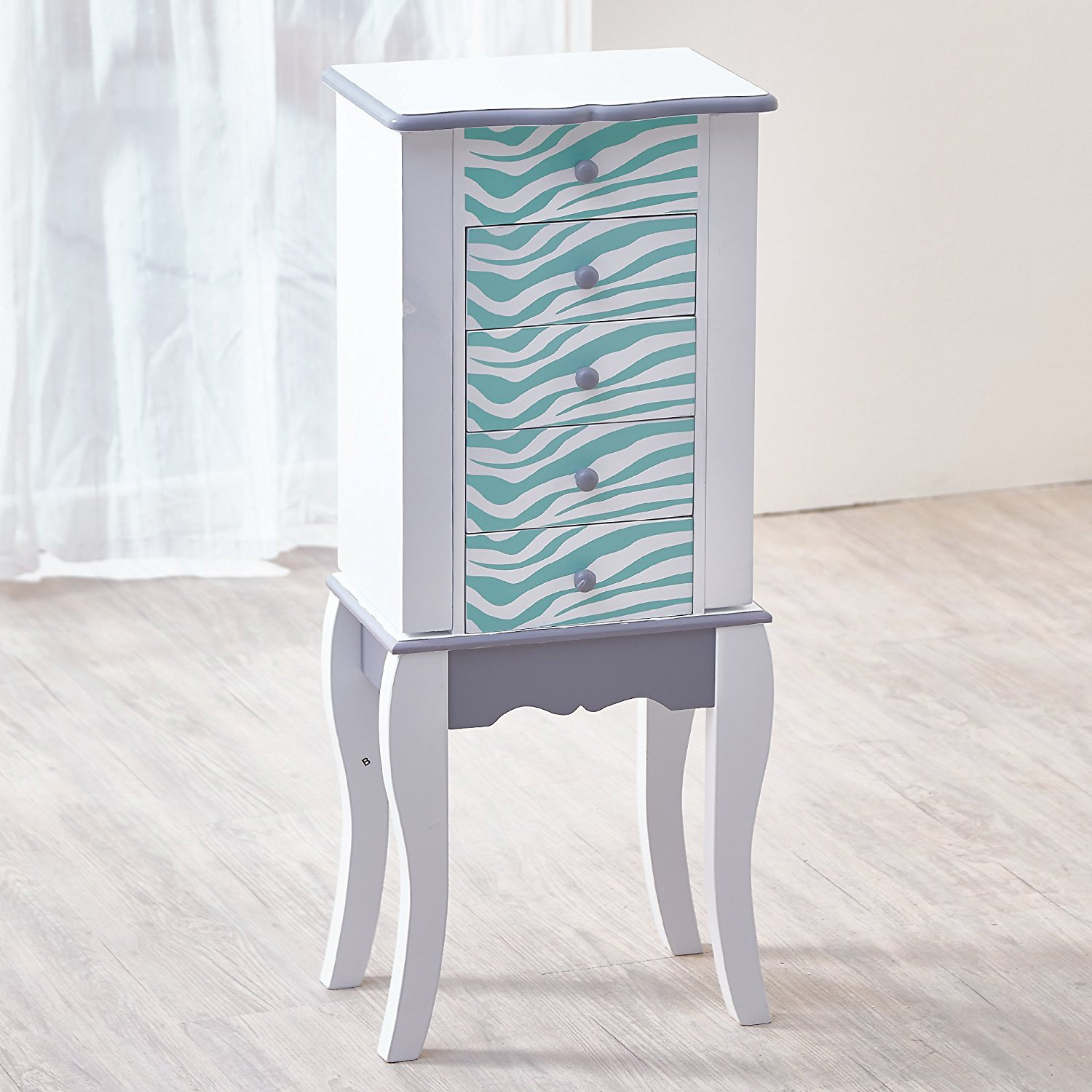 Cute Small White Floor Standing Jewelry Armoire