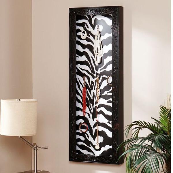 Cute Zebra Print Wall Hanging Jewelry Armoire