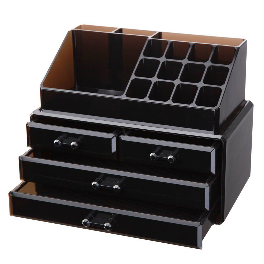 Elegant Shiny Black Acrylic Armoire Style Jewelry Box