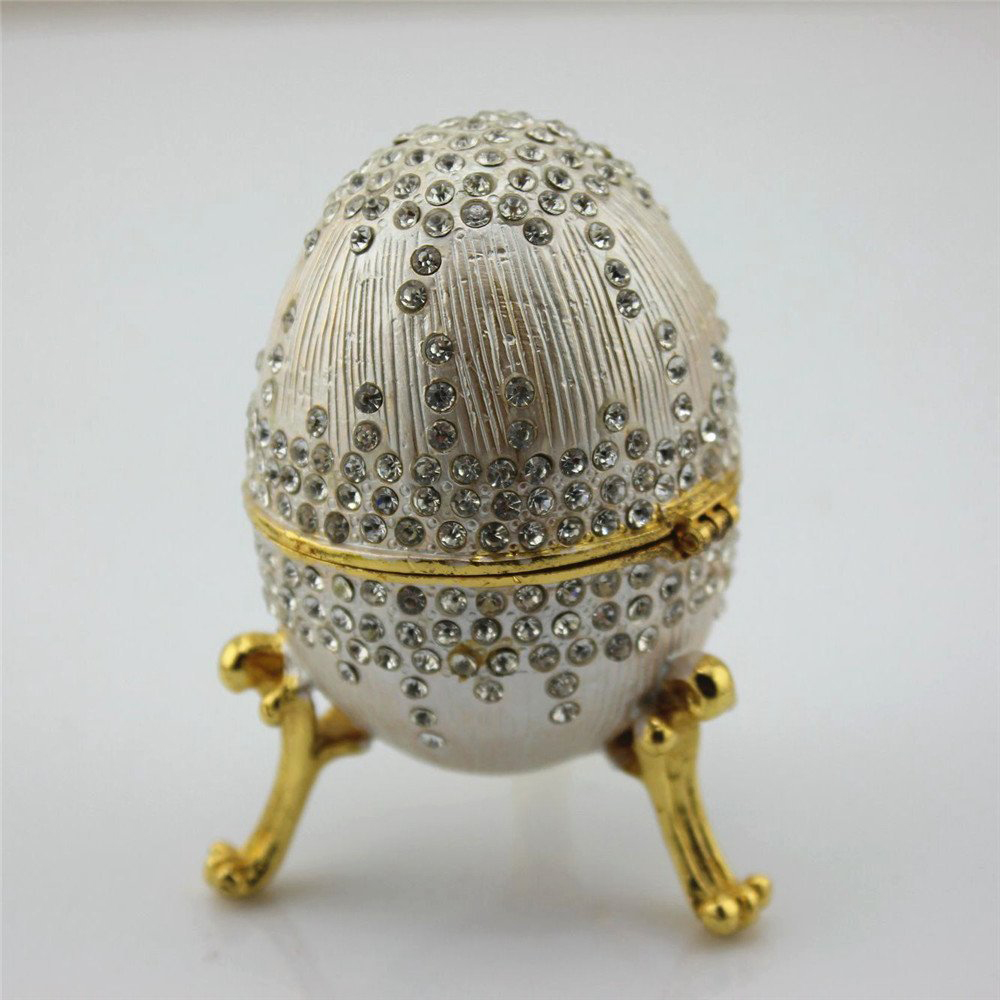 Beautiful Gold Trim Swarovski Adorned Faberge Egg Jewelry Box