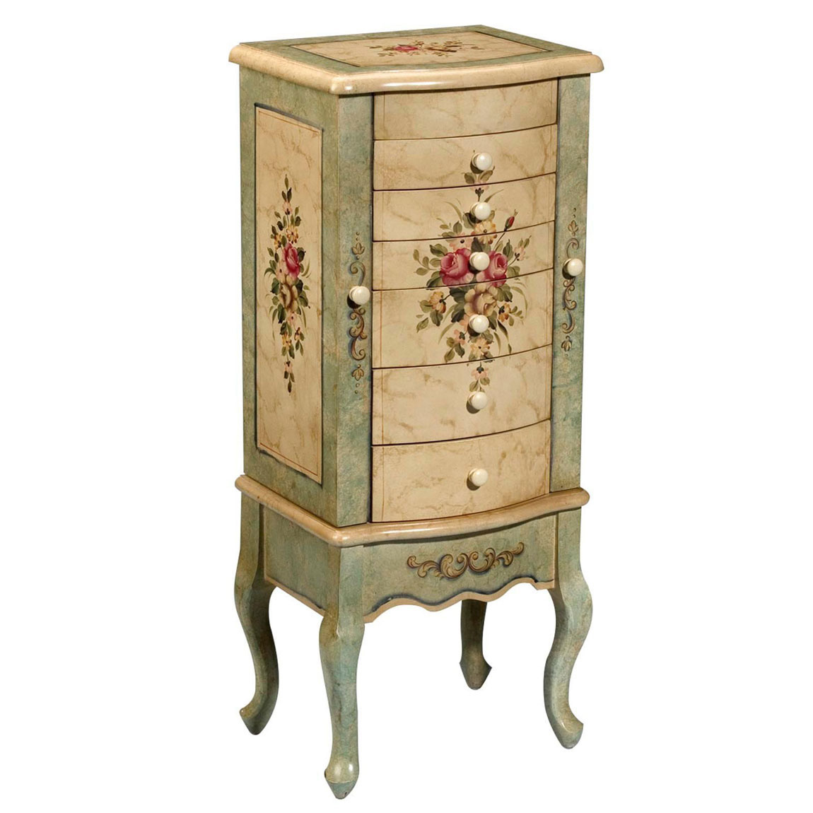Cute Vintage Floral Theme Standing Jewelry Armoire