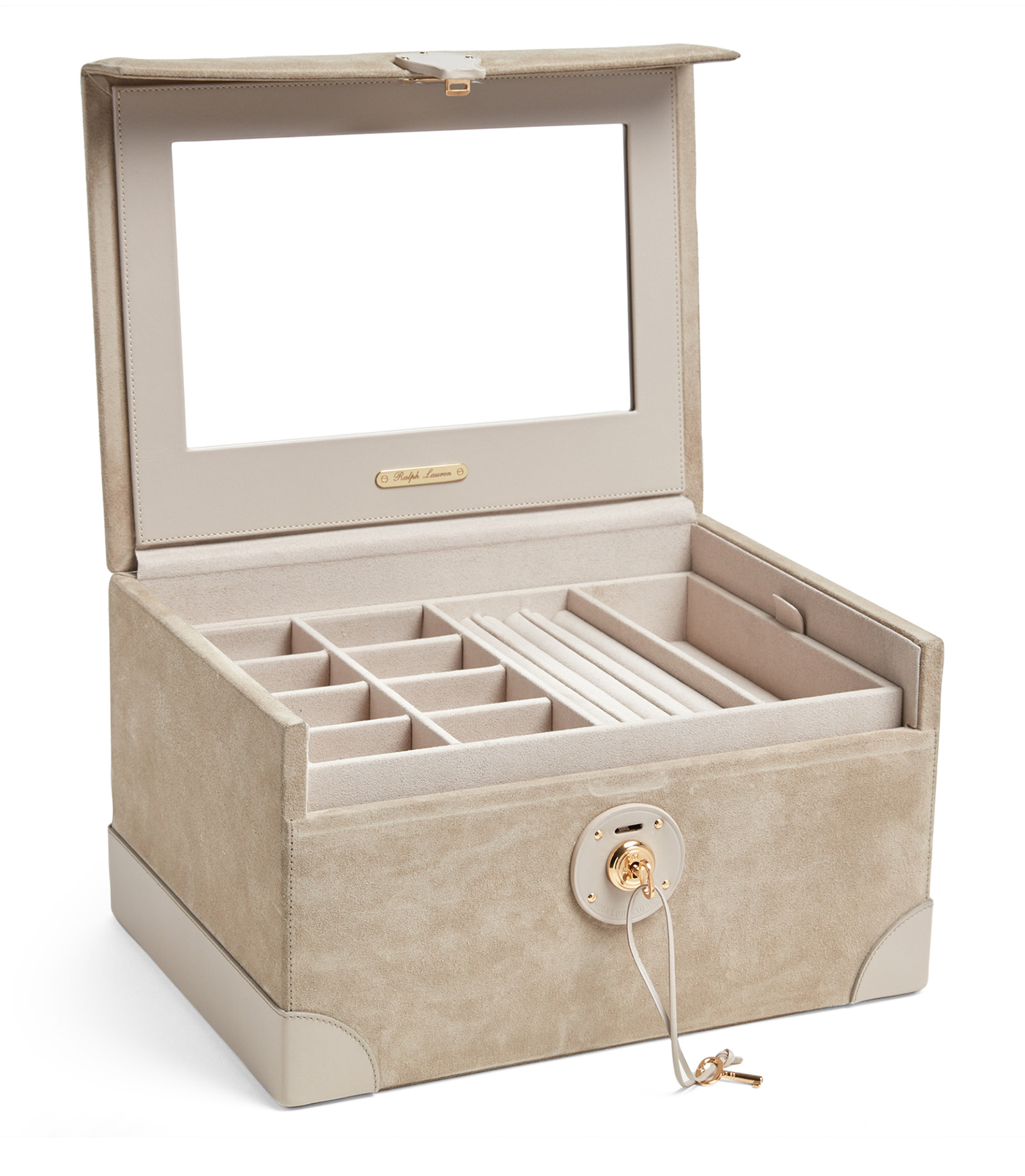 Beautiful Light Brown Elegant Locking Jewelry Box