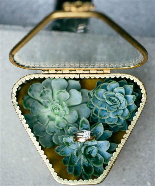 Elegant Gold Glass Lid Wedding Ring Box