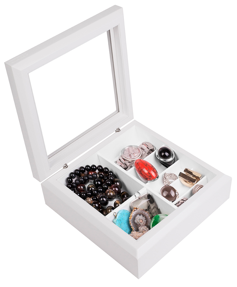 Simple White Wooden Glass Top Lid Jewelry Box