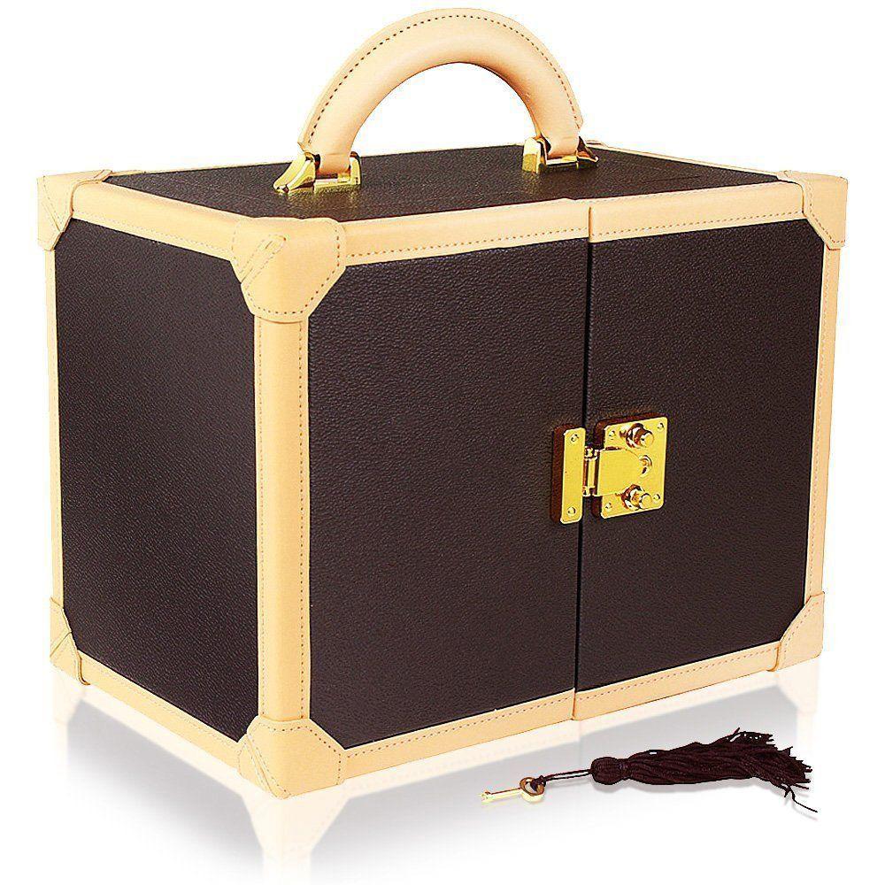 Beautiful Champagne Yellow & Coffee Brown Large Locking Jewelry Box