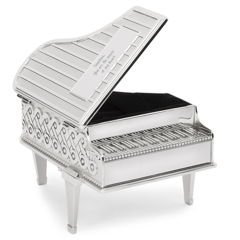 Beautiful Silver Piano Shaped Musical Jewelry Box