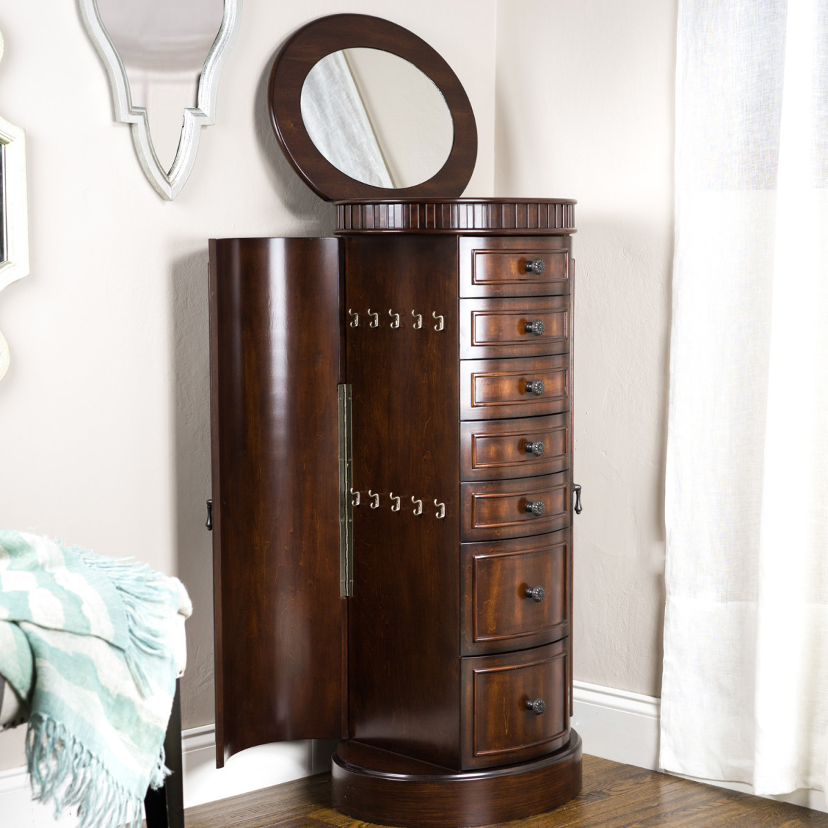Beautiful Solid Dark Brown Wood Standing Jewelry Armoire with Top Mirror