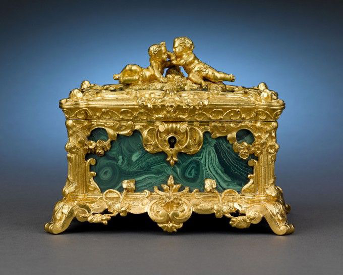 Intricate Golden Imperial Chest Antique Jewelry Box