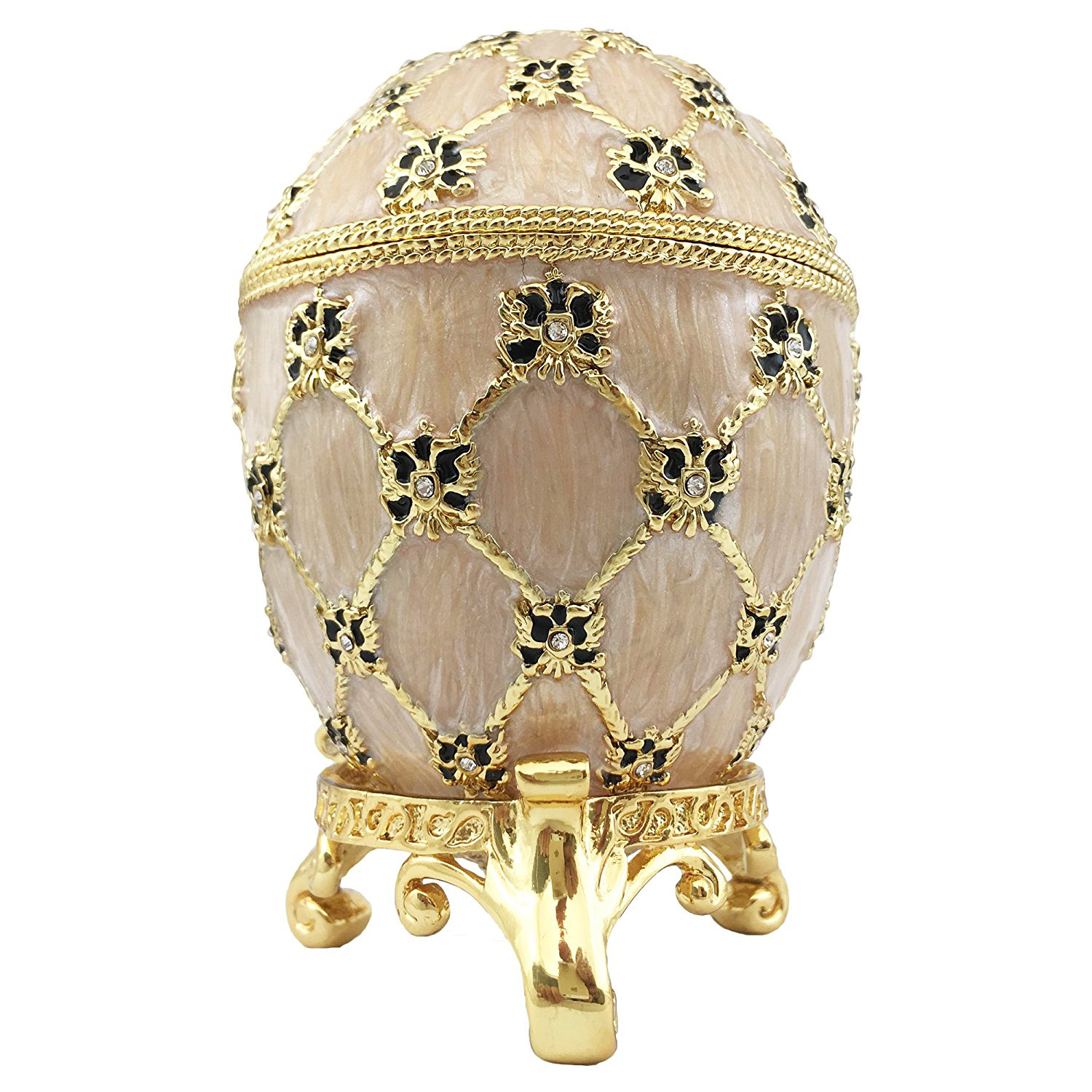 Stunning Gold Faberge Egg Jewelry Box