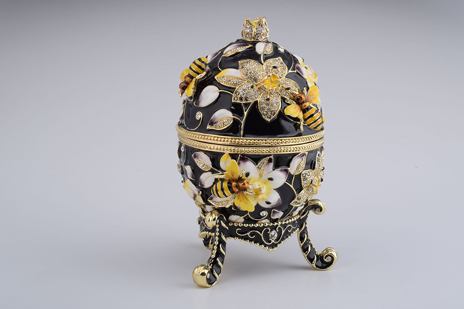 Beautiful Black Floral Bee Themed Gold Covered Faberge Egg Jewelry Box