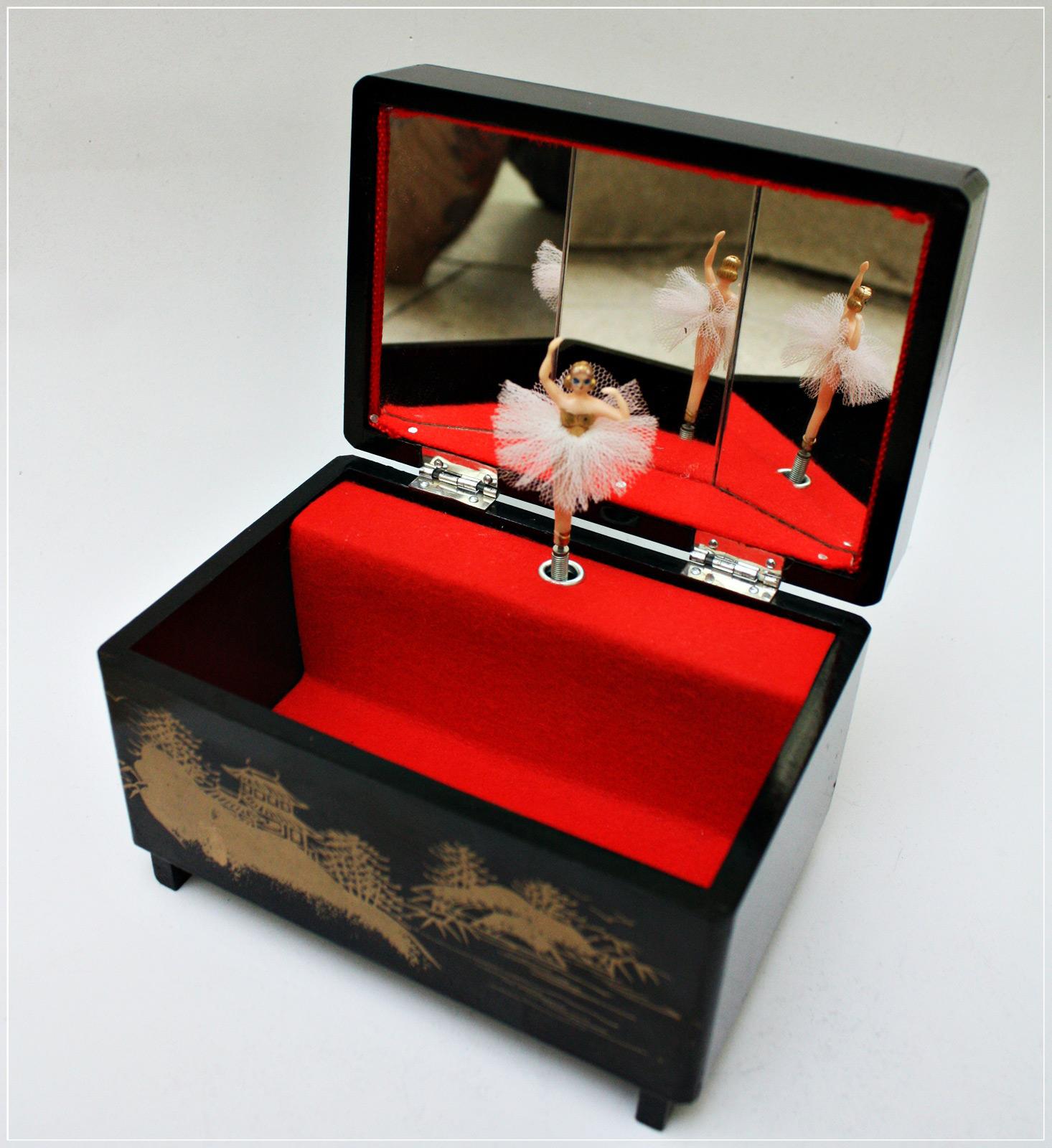 Beautiful Black Red Interior Musical Jewelry Box