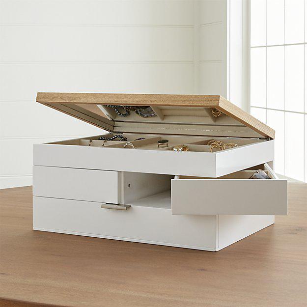 Beautiful Minimalist White Wooden Mirrored Jewelry Box
