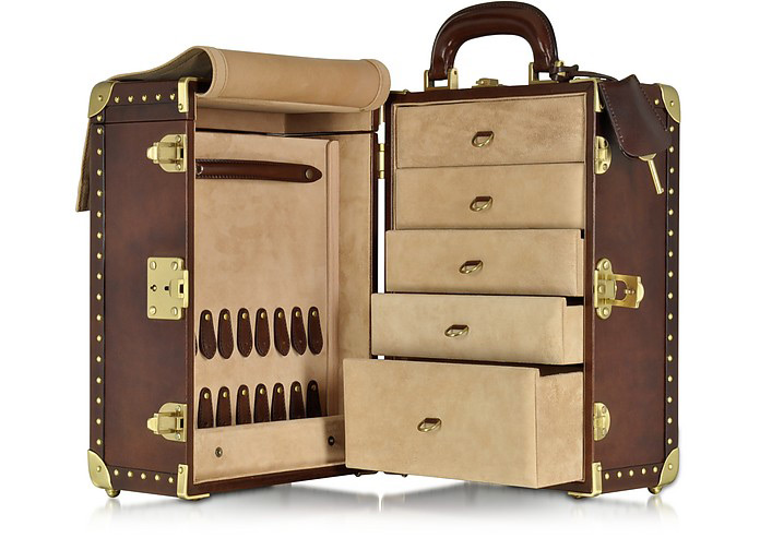 Beautiful Portable Locking Travel Jewelry Box in Coffee Brown with Gold Accents
