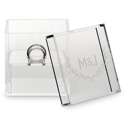 Beautiful Transparent Acrylic Square Jewelry Ring Box