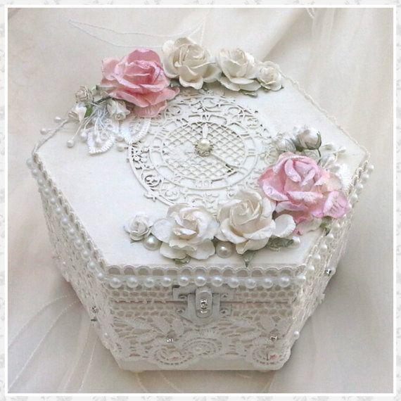 Beautiful White Rose Covered Decorative Wedding Ring Box