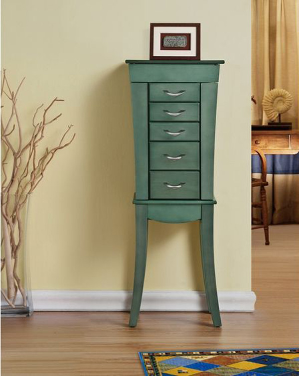 Cute Green Vintage Curved Standing Jewelry Armoire