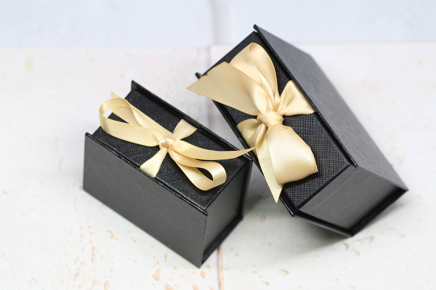 Elegant Simple Black Jewelry Gift Boxes with Gold Ribbons