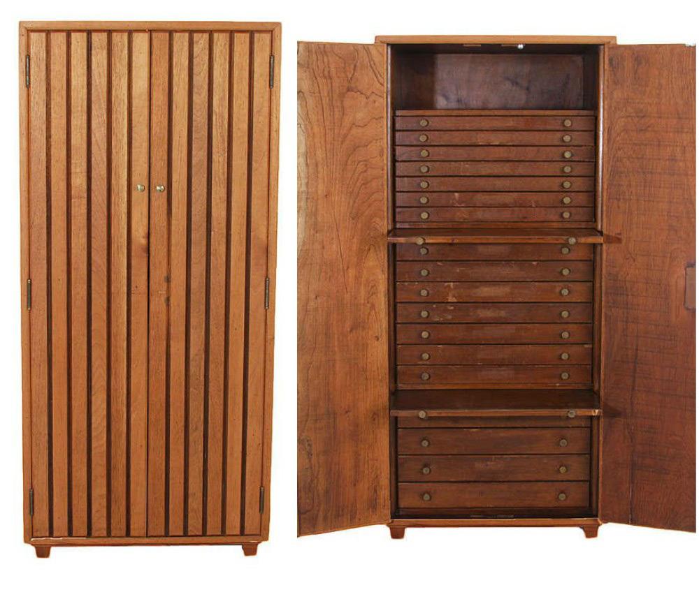 Rustic Walnut Brown Large Capacity Floor Standing Jewelry Armoire