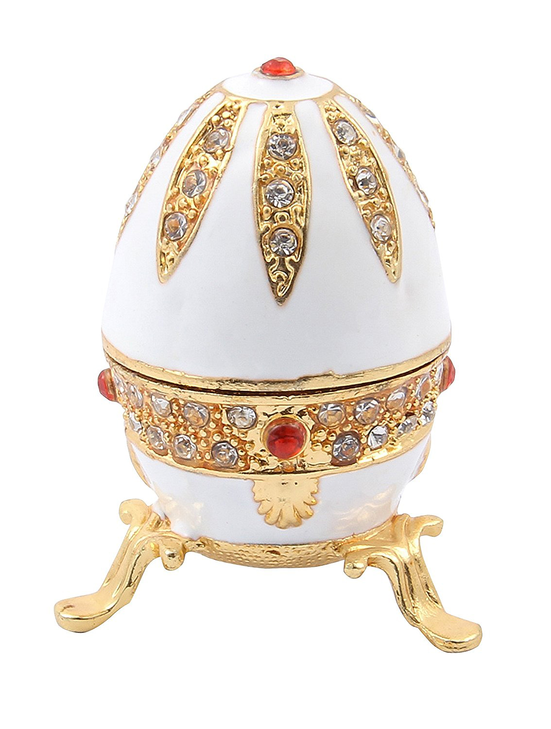 Beautiful Enamel White Gold Inlay Faberge Egg Jewelry Box