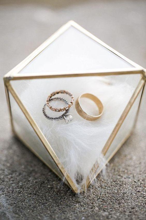 Beautiful Gold Glass Transparent Wedding Ring Box