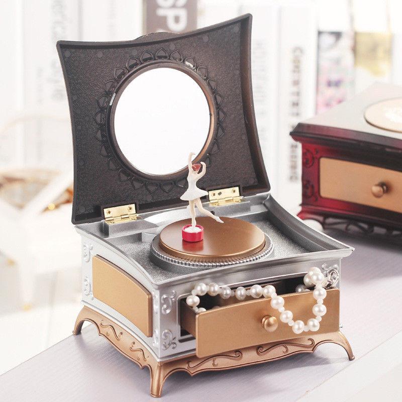 Beautiful Golden Silver Ballerina Mirrored Musical Jewelry Box