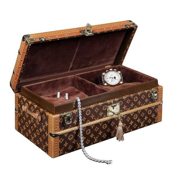 Beautiful Vintage Pattern Coffee Brown Large Locking Jewelry Box
