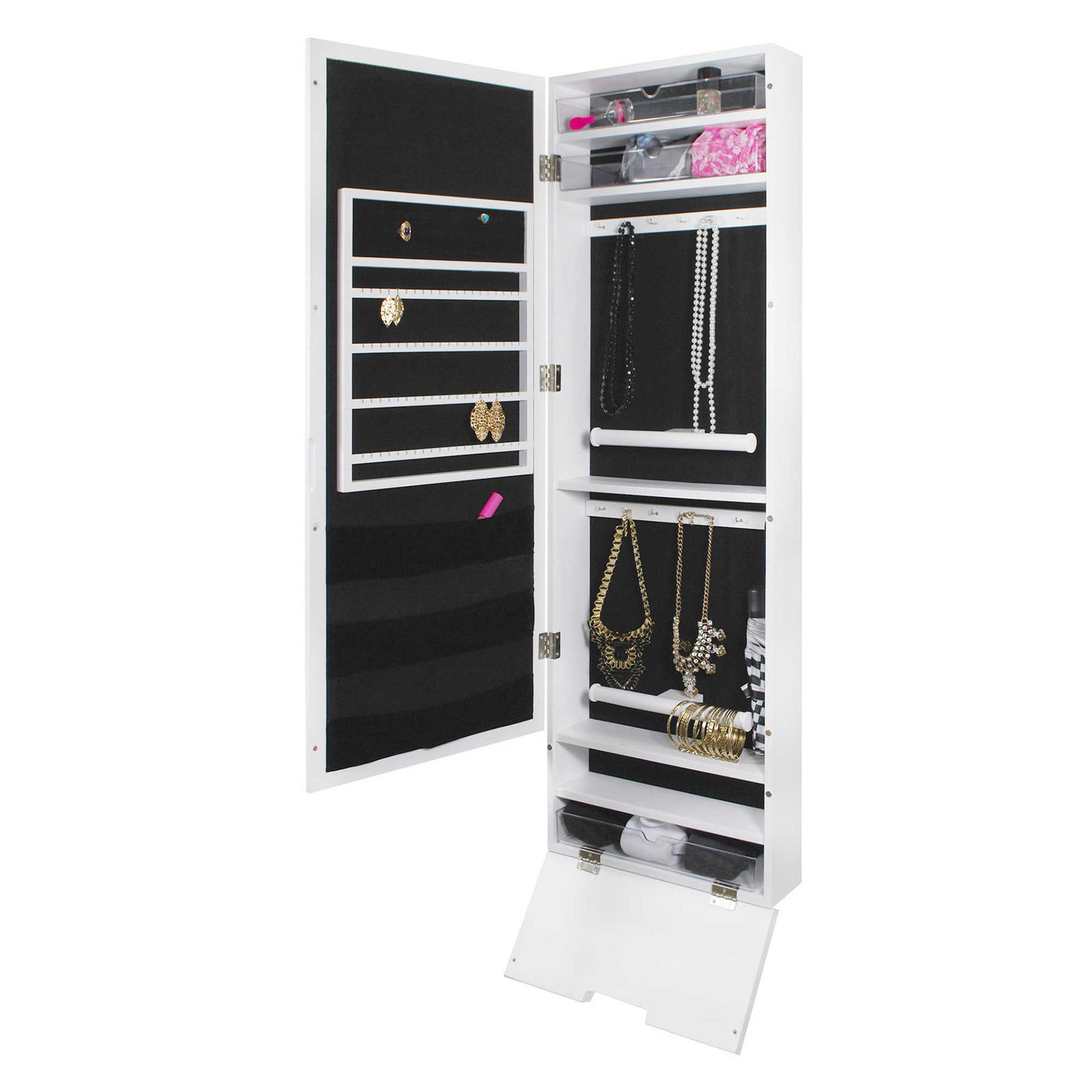 Minimalist Tall White Mirrored Hanging Jewelry Armoire
