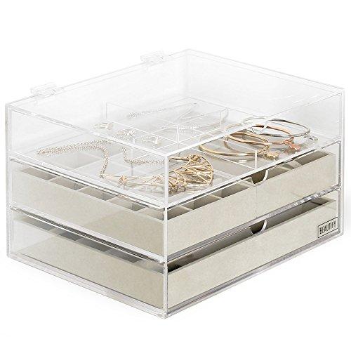 Elegant Premium Acrylic Jewelry Box Organizer with 3 Storage Trays