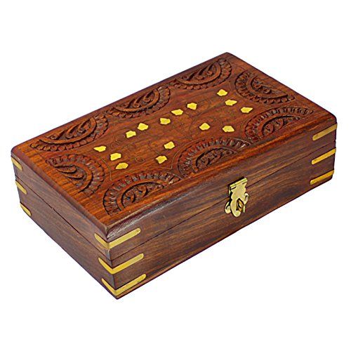 Exotic hand made carved wooden locking jewelry trinket for Jewelry box with key