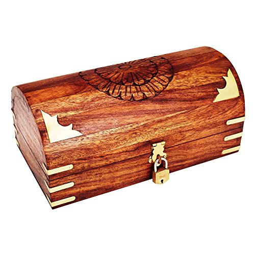Decorative Wide Hand Carved Wooden Chest Shaped Jewelry Box with