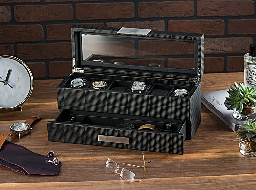 Carbon Fiber Design 6 Slot Mens Valet Organizer Jewelry Box Zen