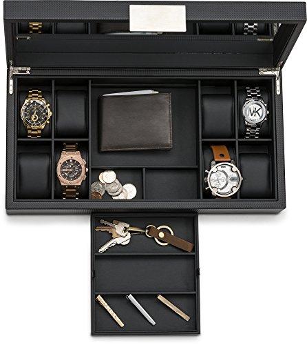 14 Slot Luxury Carbon Fiber Design Mens Large Jewelry Organizer