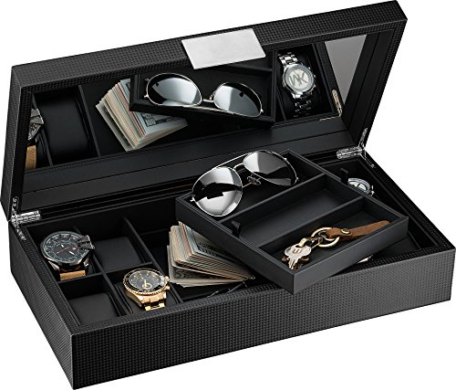 f74629539 Glenor Co Watch and Sunglasses Box with Valet Tray for Men -14 Slot ...