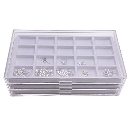Acrylic 3 Drawers Jewelry Organizer Boxes With Gray
