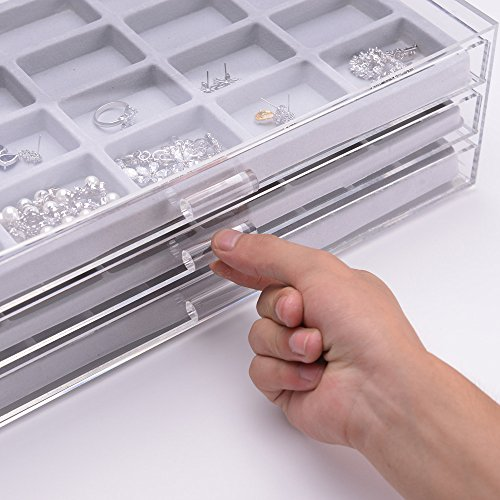 Acrylic 3 Drawers Jewelry Organizer Boxes with Gray Compartment