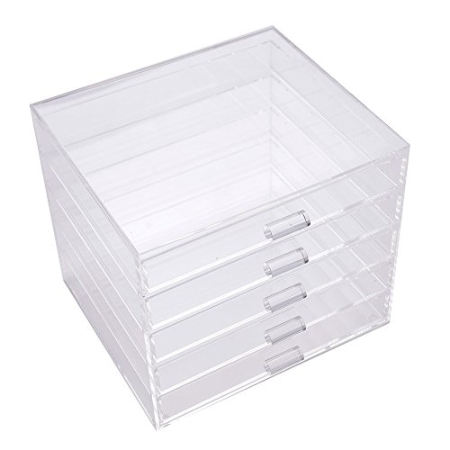 Elegant Clear Black Acrylic 5 Drawers Jewelry Organizer Display