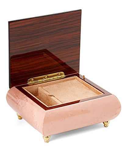 Elegant Legged Light Brown Italian Design Wooden Musical Jewelry Box