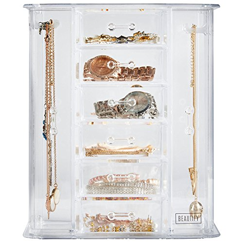 Tall Countertop Acrylic Tower Jewelry Box Jewelry Organizer Zen
