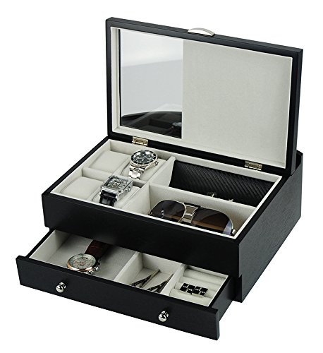 Large Executive Black Countertop Glass Lid Mens Valet Jewelry