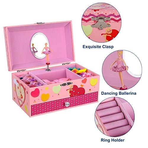 Little Girls Pink Red Small Ballerina Mirrored Jewelry Box Zen