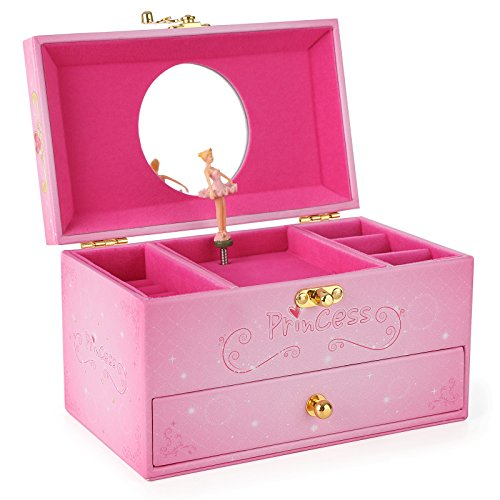 Intense pink mirrored ballerina musical girls 39 large for Girls large jewelry box