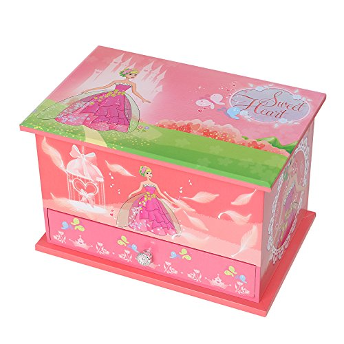 Ball princess pink large mirrored girls 39 musical jewelry for Girls large jewelry box